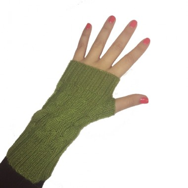 Green Short Cabled Fingerless Gloves