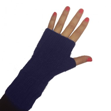 Navy Short Cabled Fingerless Gloves