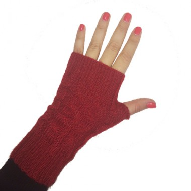Red Short Cabled Fingerless Gloves