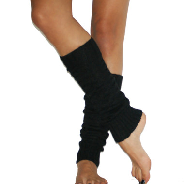 Cable Knit Black Leg Warmers