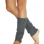 Cable Knit Charcoal Leg Warmers