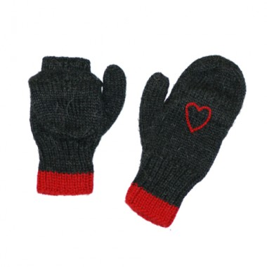 Charcoal Texting Mitten w/ Red Heart