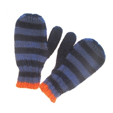 Jeans Blue Striped Mittens For Kids