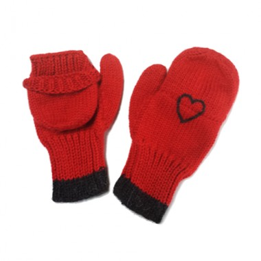 Red Texting Mittens W/ Charcoal Heart