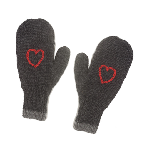 Red Heart Knitting Pattern Mittens : Charcoal With Red Heart Mittens - TwittenTwitten