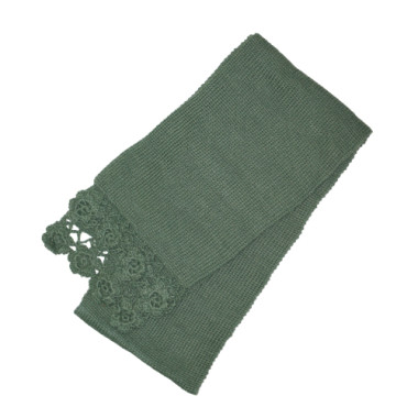 Green Scarf With Floral Edging