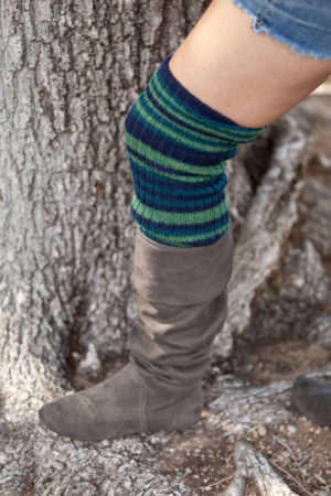 deluxe extra long leg warmers - navy green multi stripe